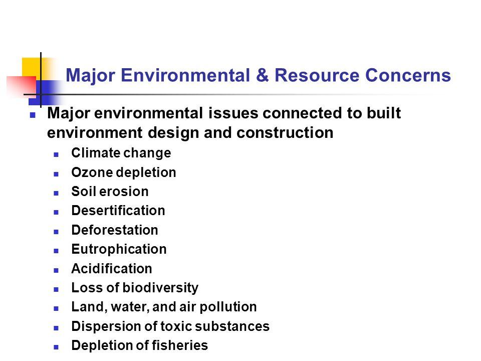 Major Environmental & Resource Concerns Major environmental issues connected to built environment design and construction Climate change Ozone depleti
