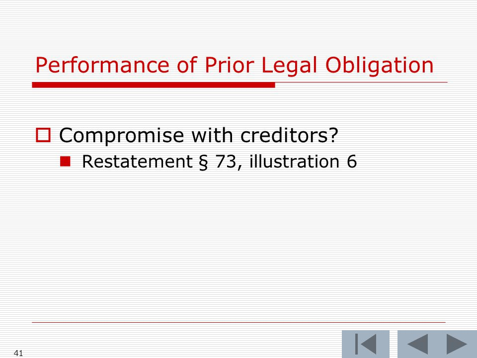 Performance of Prior Legal Obligation  Compromise with creditors.