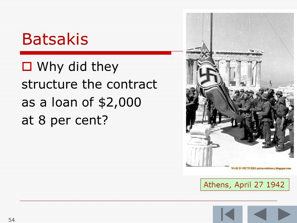 Batsakis  Why did they structure the contract as a loan of $2,000 at 8 per cent.