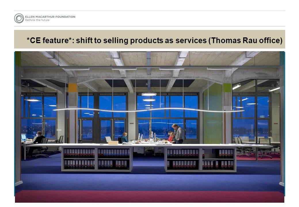 *CE feature*: shift to selling products as services (Thomas Rau office)
