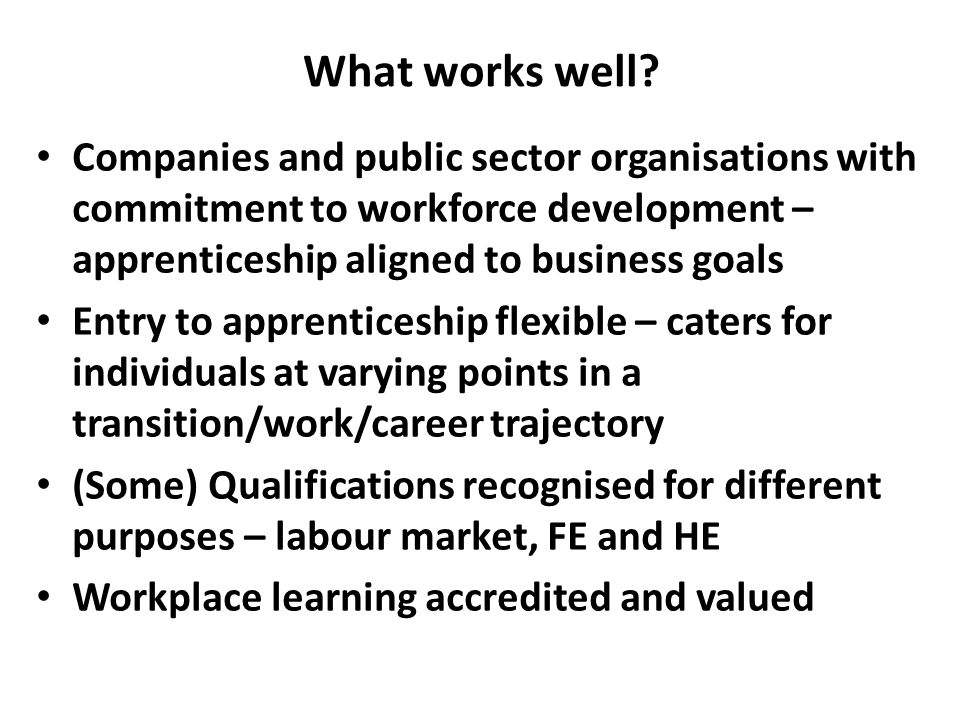 What works well? Companies and public sector organisations with commitment to workforce development – apprenticeship aligned to business goals Entry t