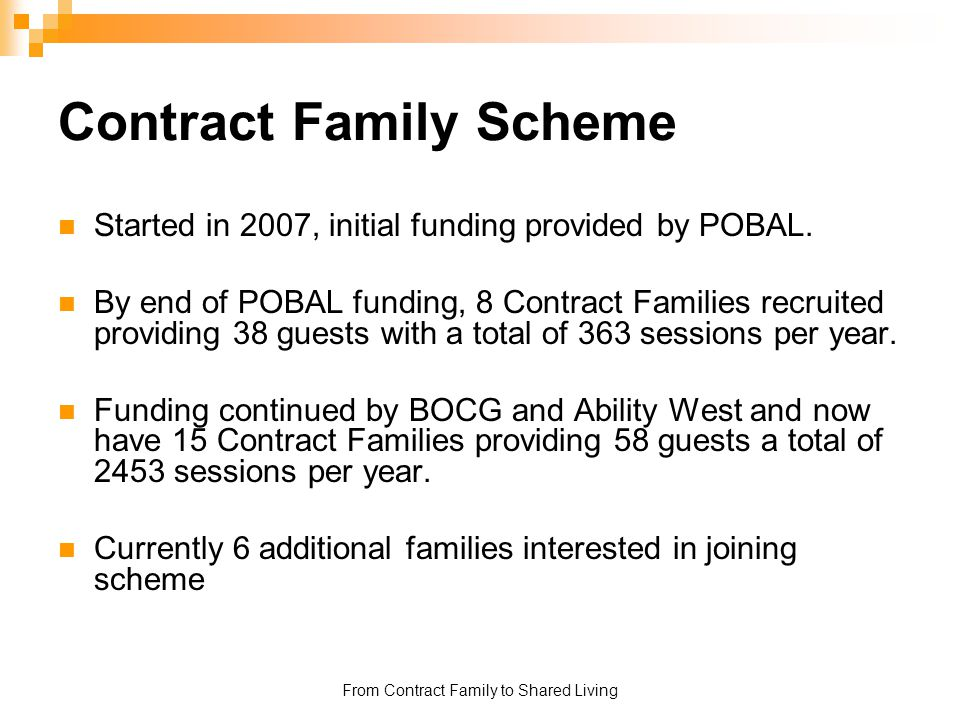 From Contract Family to Shared Living Contract Family Scheme Started in 2007, initial funding provided by POBAL. By end of POBAL funding, 8 Contract F