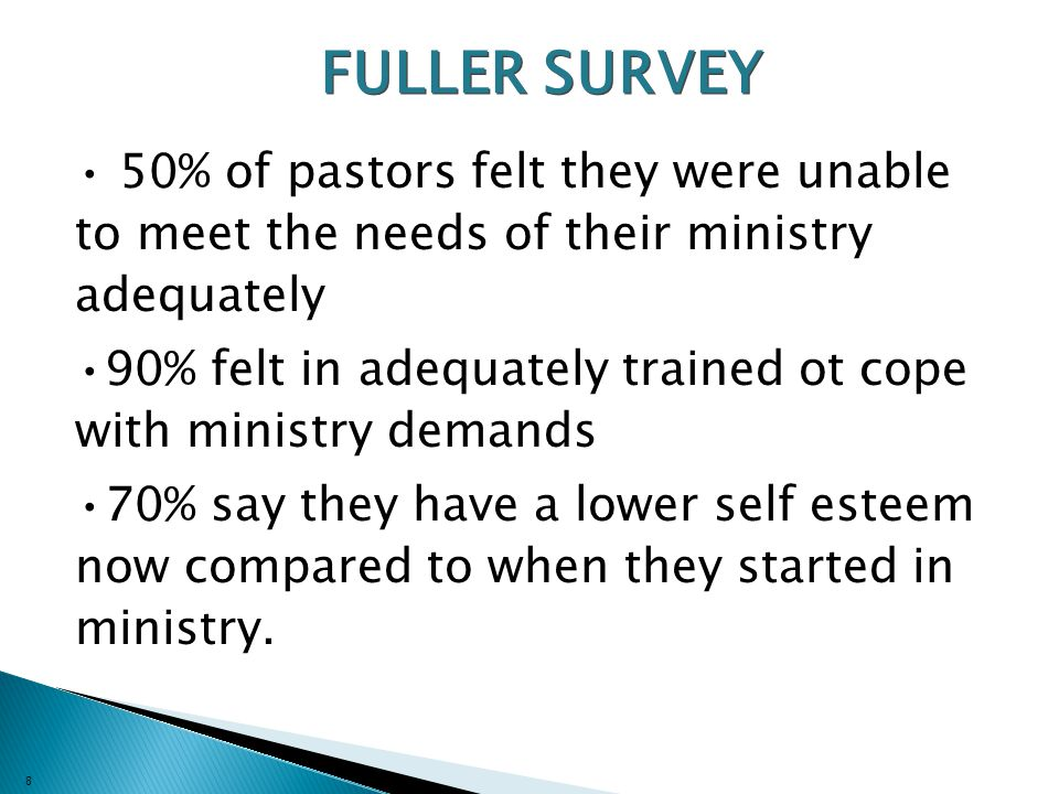 8 FULLER SURVEY 50% of pastors felt they were unable to meet the needs of their ministry adequately 90% felt in adequately trained ot cope with ministry demands 70% say they have a lower self esteem now compared to when they started in ministry.