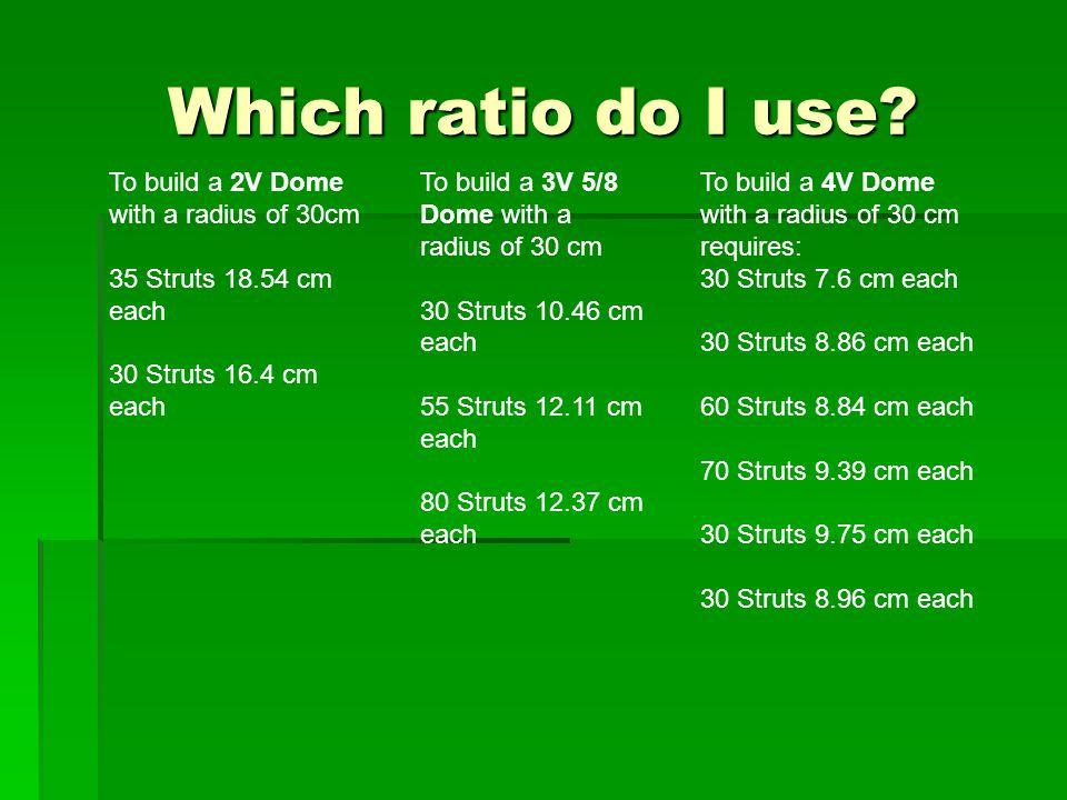 Which ratio do I use? Radius = 30 cm To build a 2V Dome with a radius of 30cm 35 Struts 18.54 cm each 30 Struts 16.4 cm each To build a 3V 5/8 Dome wi