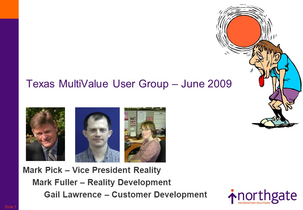 Slide 1 Mark Pick – Vice President Reality Mark Fuller – Reality Development Gail Lawrence – Customer Development Texas MultiValue User Group – June 2