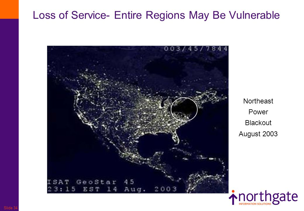 Slide 34 Loss of Service- Entire Regions May Be Vulnerable Northeast Power Blackout August 2003