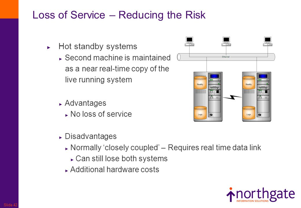 Slide 42 Loss of Service – Reducing the Risk ► Hot standby systems ► Second machine is maintained as a near real-time copy of the live running system