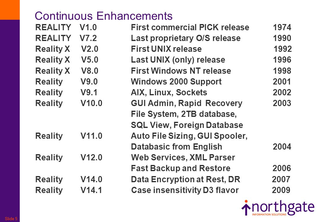 Slide 5 Continuous Enhancements REALITY V1.0First commercial PICK release1974 REALITY V7.2 Last proprietary O/S release1990 Reality X V2.0First UNIX r
