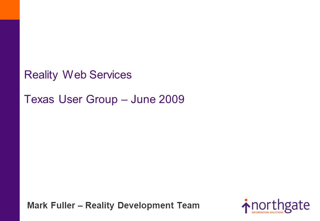 Reality Web Services Texas User Group – June 2009 Mark Fuller – Reality Development Team