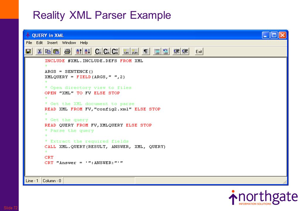 Slide 72 Reality XML Parser Example