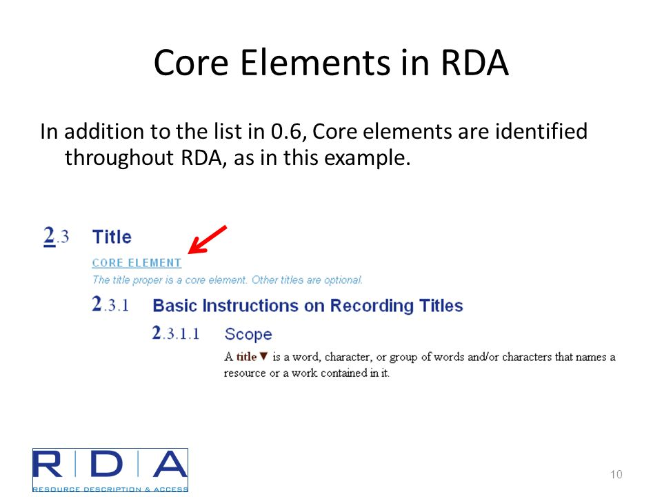 Core Elements in RDA In addition to the list in 0.6, Core elements are identified throughout RDA, as in this example.