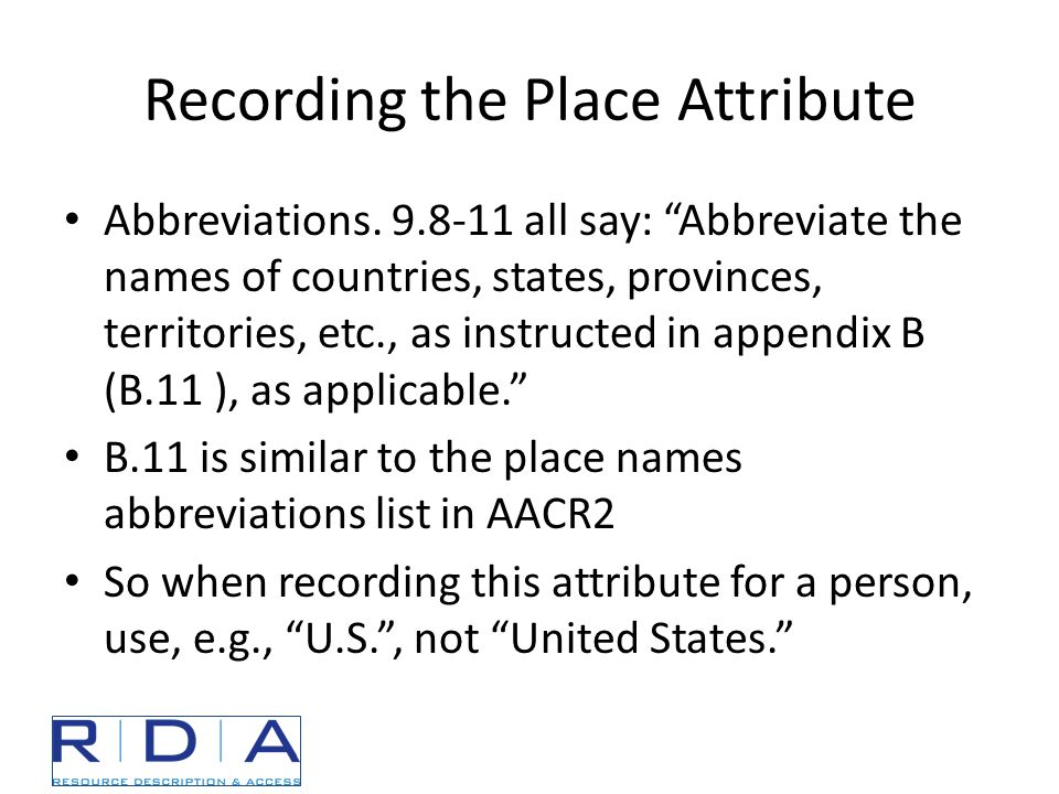 Recording the Place Attribute Abbreviations.
