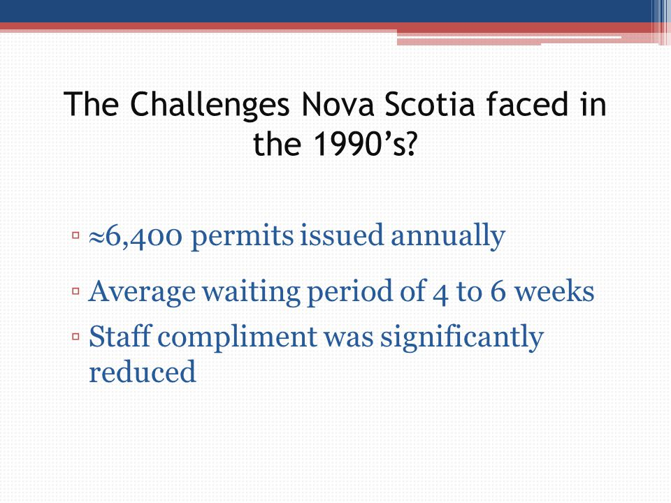 The Challenges Nova Scotia faced in the 1990's? ▫  6,400 permits issued annually ▫Average waiting period of 4 to 6 weeks ▫Staff compliment was signif