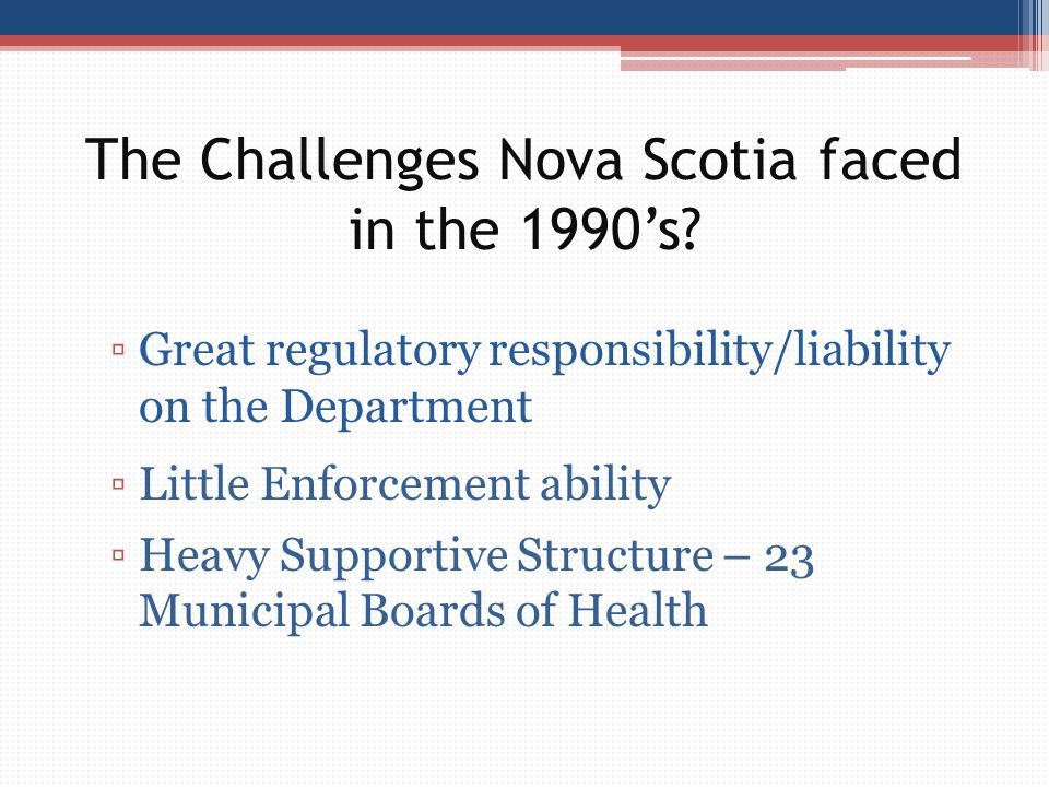 The Challenges Nova Scotia faced in the 1990's? ▫Great regulatory responsibility/liability on the Department ▫Little Enforcement ability ▫Heavy Suppor