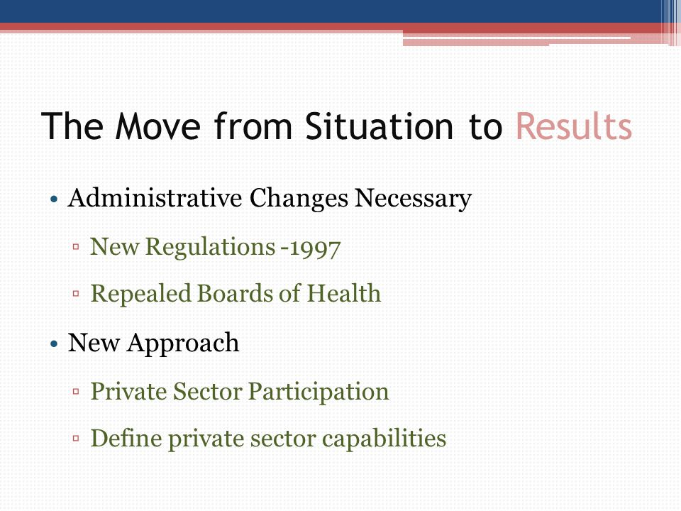 The Move from Situation to Results Administrative Changes Necessary ▫New Regulations -1997 ▫Repealed Boards of Health New Approach ▫Private Sector Par