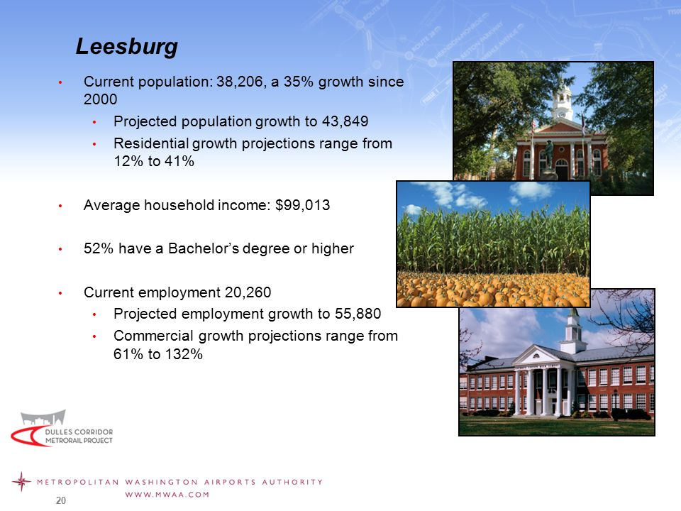 Leesburg Current population: 38,206, a 35% growth since 2000 Projected population growth to 43,849 Residential growth projections range from 12% to 41