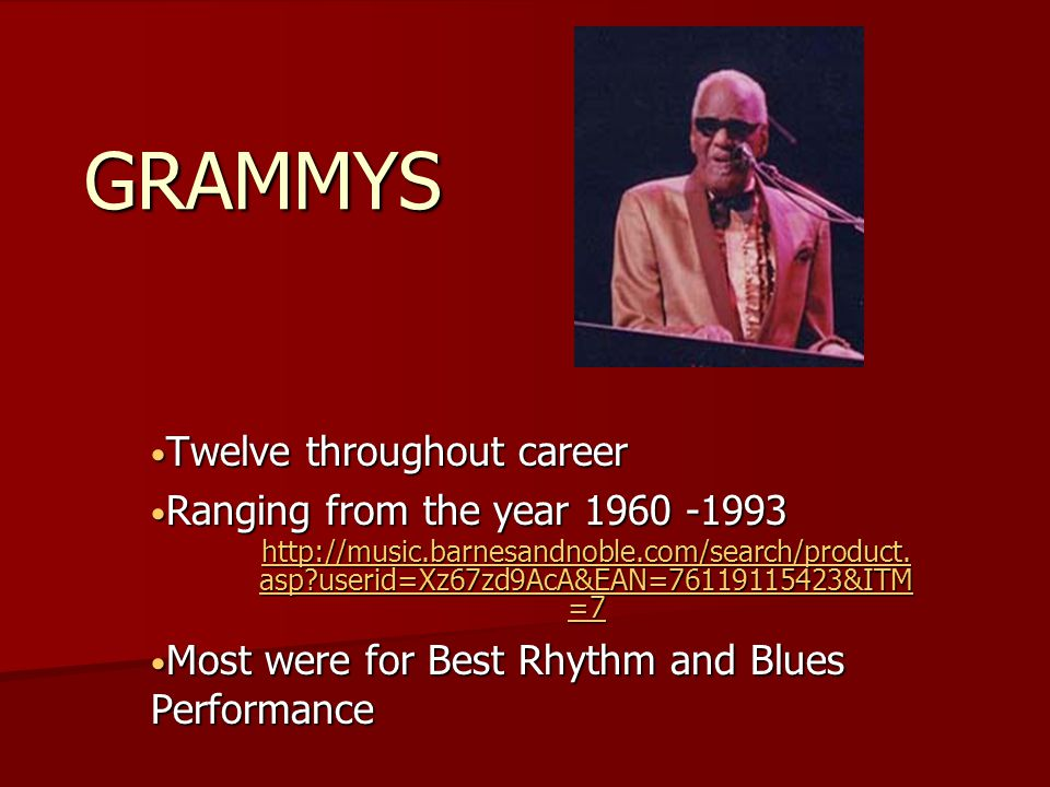 GRAMMYS Twelve throughout career Twelve throughout career Ranging from the year 1960 -1993 Ranging from the year 1960 -1993 http://music.barnesandnoble.com/search/product.