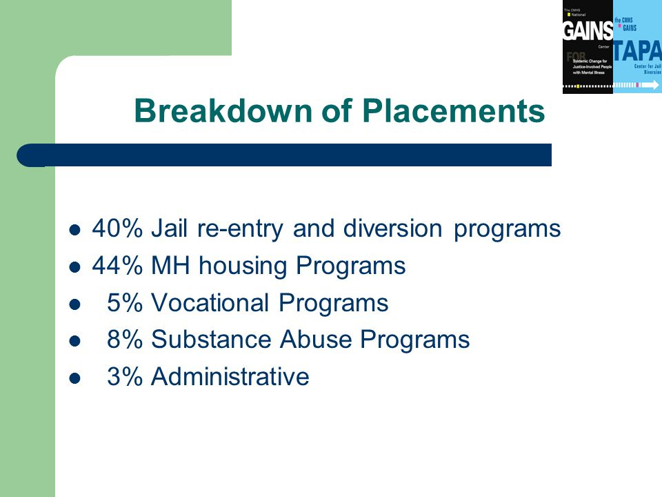 Breakdown of Placements 40% Jail re-entry and diversion programs 44% MH housing Programs 5% Vocational Programs 8% Substance Abuse Programs 3% Administrative