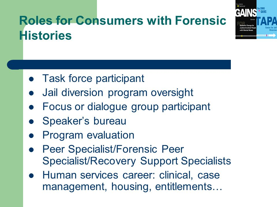 Task force participant Jail diversion program oversight Focus or dialogue group participant Speaker's bureau Program evaluation Peer Specialist/Forensic Peer Specialist/Recovery Support Specialists Human services career: clinical, case management, housing, entitlements… Roles for Consumers with Forensic Histories