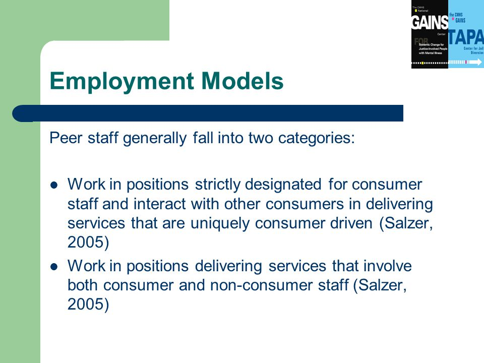 Employment Models Peer staff generally fall into two categories: Work in positions strictly designated for consumer staff and interact with other consumers in delivering services that are uniquely consumer driven (Salzer, 2005) Work in positions delivering services that involve both consumer and non-consumer staff (Salzer, 2005)