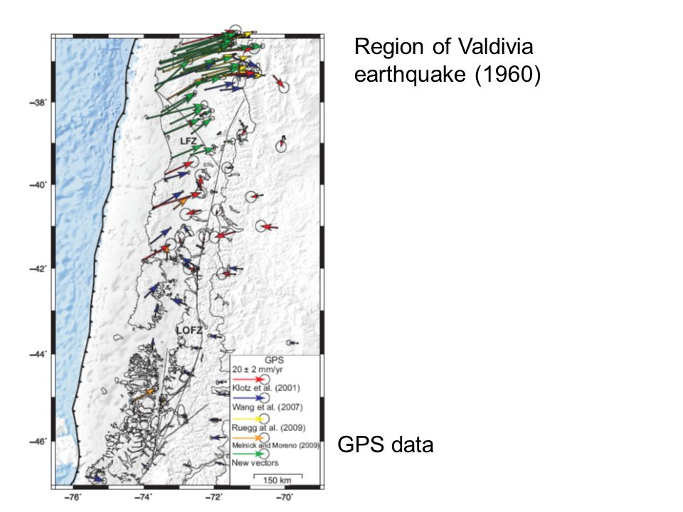 Region of Valdivia earthquake (1960) GPS data