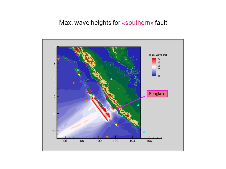 Max. wave heights for «southern» fault Bengkulu 37