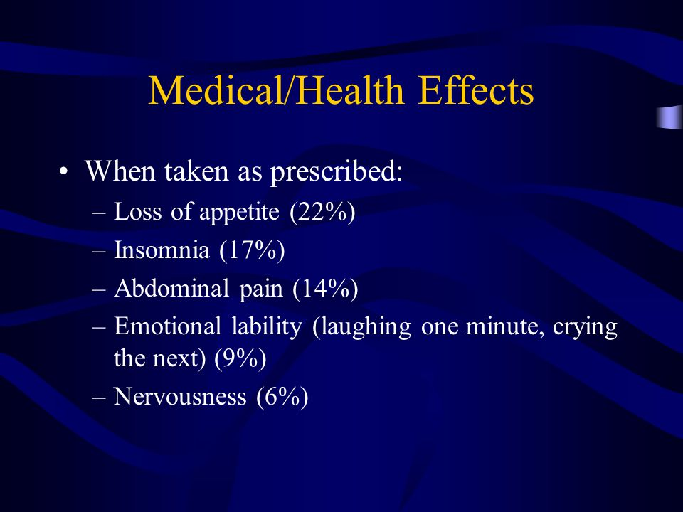 Medical/Health Effects When taken as prescribed: –Loss of appetite (22%) –Insomnia (17%) –Abdominal pain (14%) –Emotional lability (laughing one minute, crying the next) (9%) –Nervousness (6%)