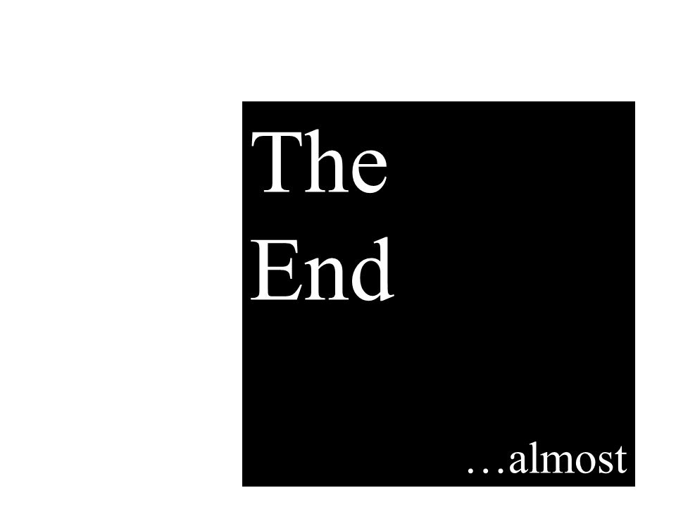 The End …almost