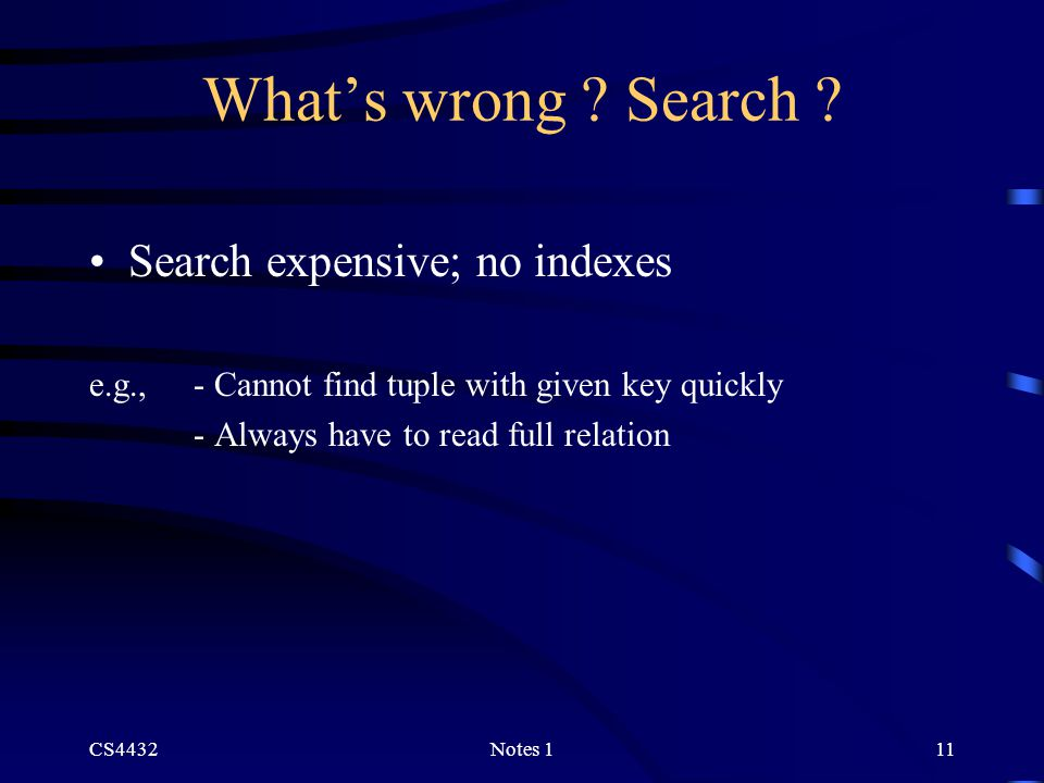 CS4432Notes 111 What's wrong . Search .