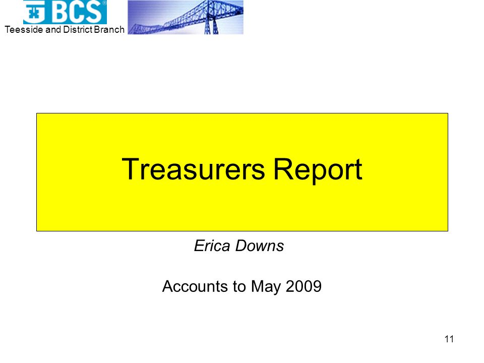 Teesside and District Branch 11 Treasurers Report Accounts to May 2009 Erica Downs