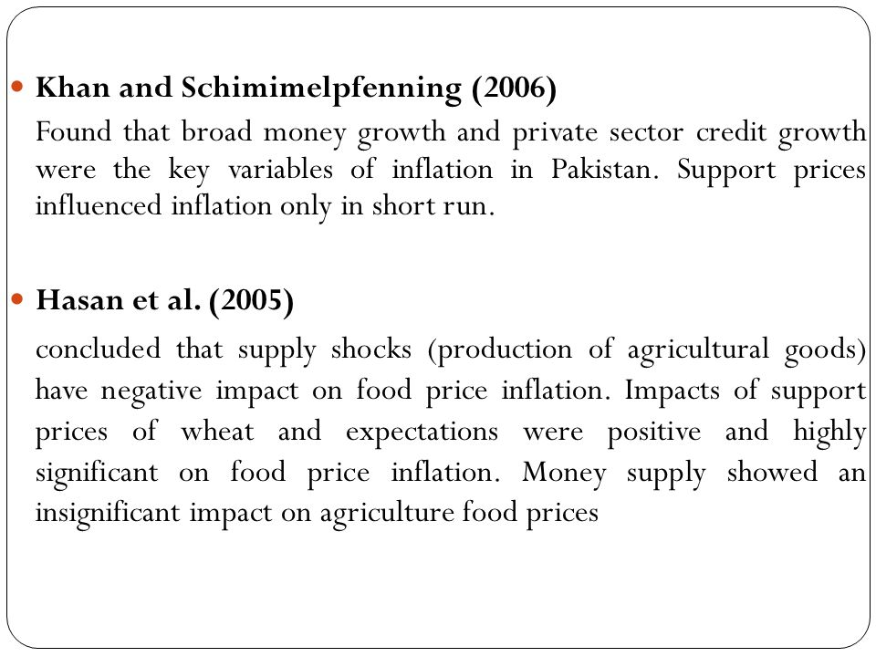 Bhattacharia and Lodh (1990) Supported the strctulists model of inflation for India Balkrishnan (1992, 1994) Prices of food grains were determined by per capita output, per capita income in agriculture sector and government procurement of food grains.