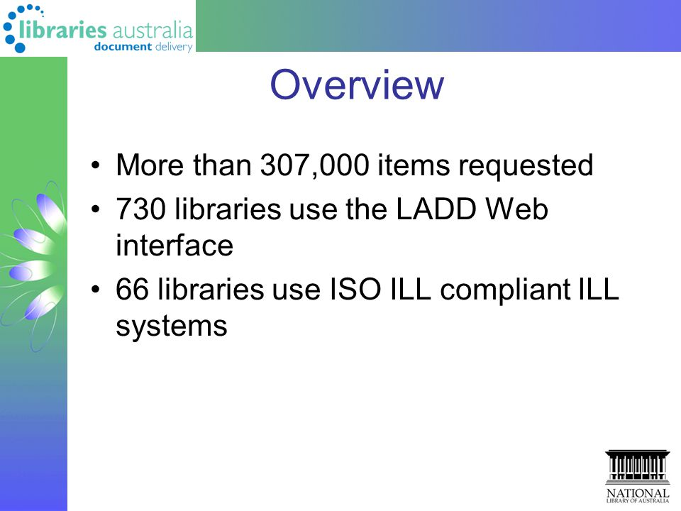 Overview More than 307,000 items requested 730 libraries use the LADD Web interface 66 libraries use ISO ILL compliant ILL systems