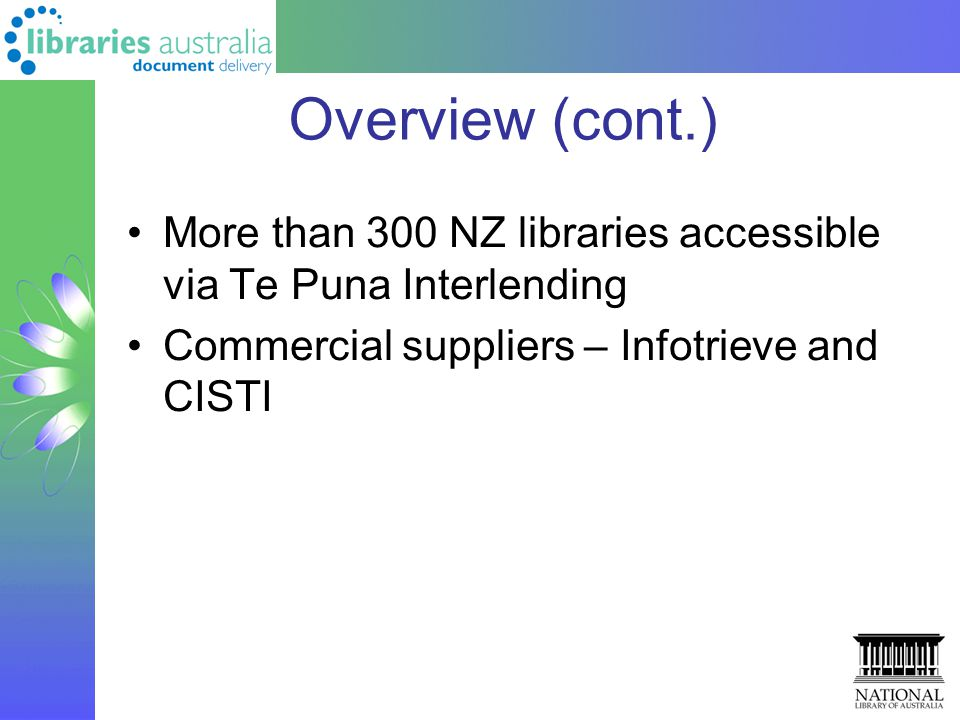 Overview (cont.) More than 300 NZ libraries accessible via Te Puna Interlending Commercial suppliers – Infotrieve and CISTI