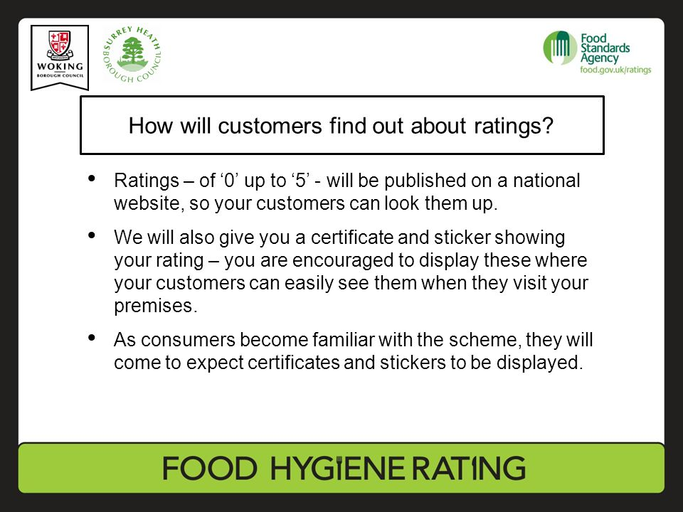 How will customers find out about ratings.