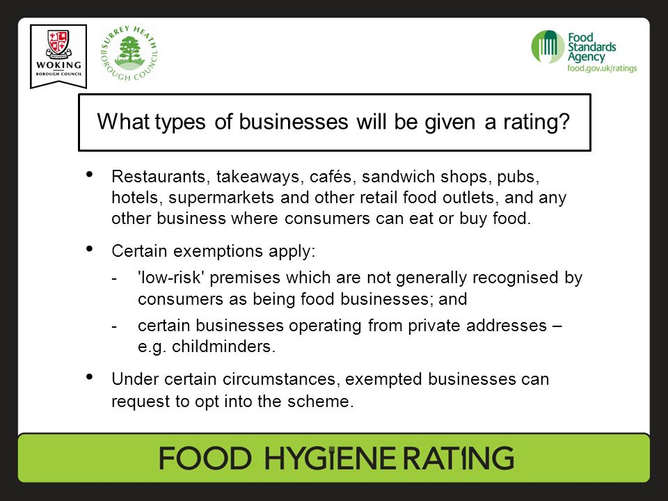 What types of businesses will be given a rating.