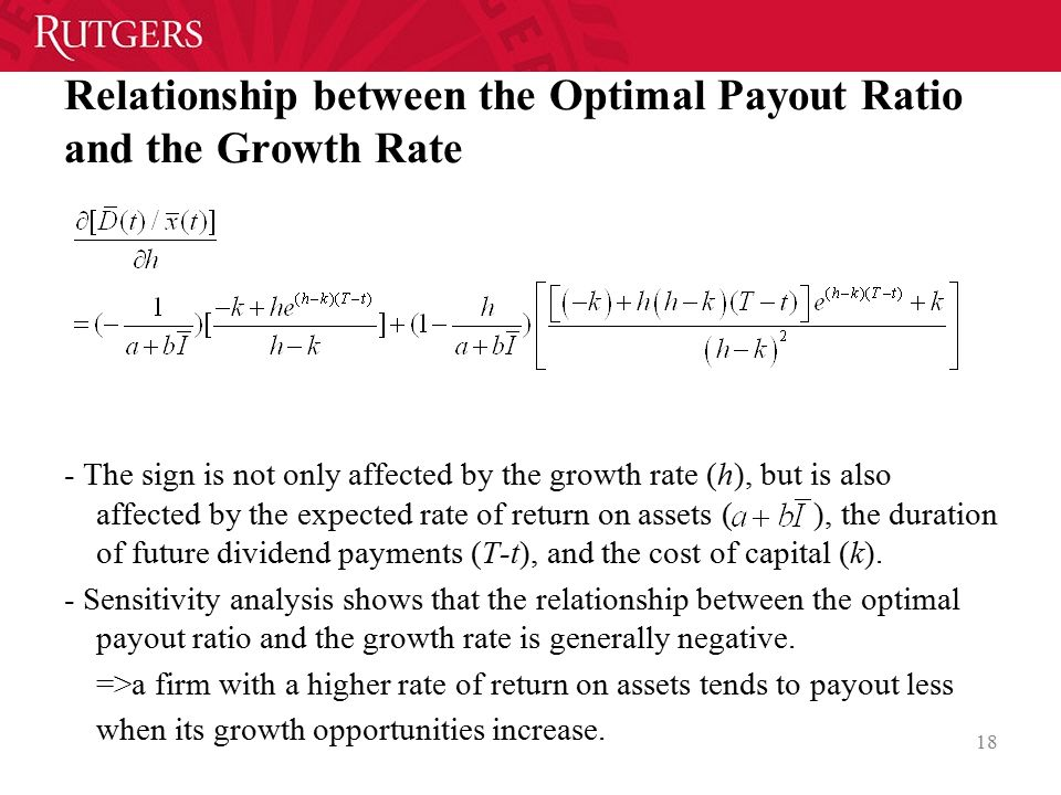 Relationship between the Optimal Payout Ratio and the Growth Rate - The sign is not only affected by the growth rate (h), but is also affected by the expected rate of return on assets ( ), the duration of future dividend payments (T-t), and the cost of capital (k).