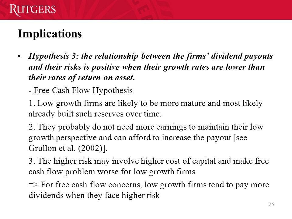 Implications Hypothesis 3: the relationship between the firms' dividend payouts and their risks is positive when their growth rates are lower than their rates of return on asset.