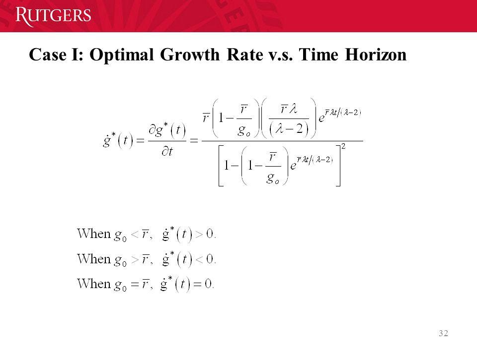 Case I: Optimal Growth Rate v.s. Time Horizon 32