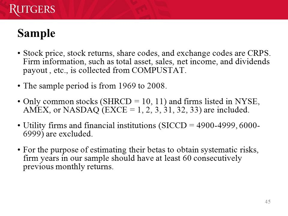 Sample Stock price, stock returns, share codes, and exchange codes are CRPS.