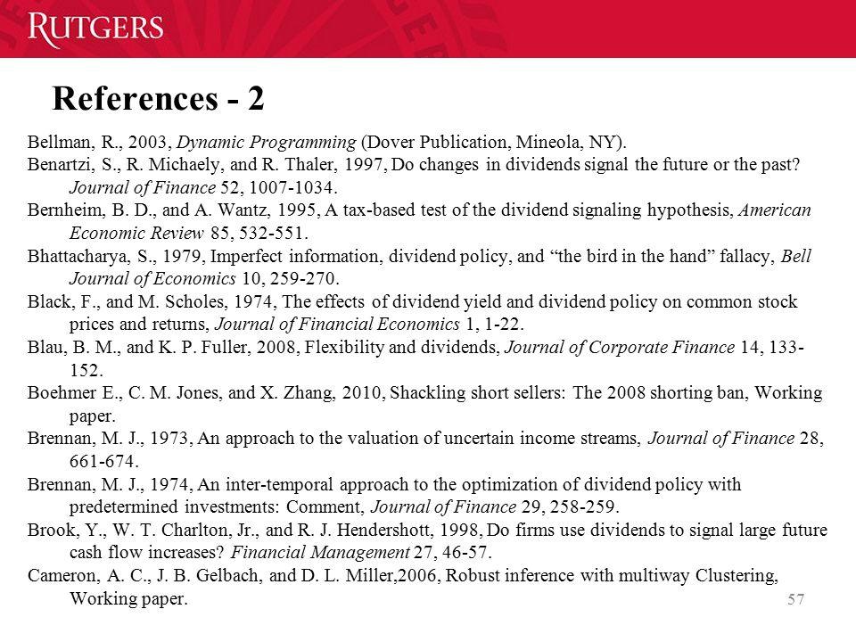 References - 2 Bellman, R., 2003, Dynamic Programming (Dover Publication, Mineola, NY).