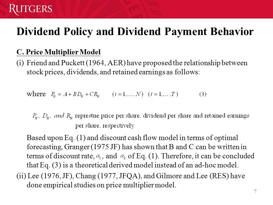 Dividend Policy and Dividend Payment Behavior C.