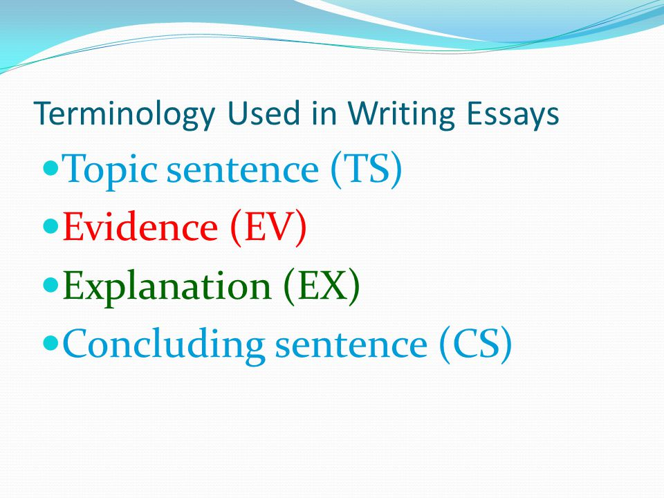 Terminology Used in Writing Essays Topic sentence (TS) Evidence (EV) Explanation (EX) Concluding sentence (CS)