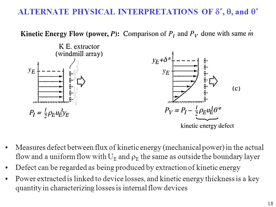 18 ALTERNATE PHYSICAL INTERPRETATIONS OF  *, , and  * Measures defect between flux of kinetic energy (mechanical power) in the actual flow and a un