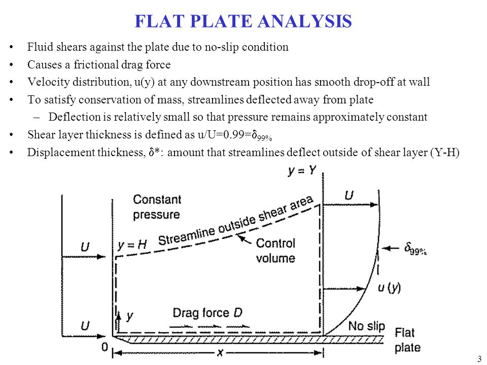 3 FLAT PLATE ANALYSIS Fluid shears against the plate due to no-slip condition Causes a frictional drag force Velocity distribution, u(y) at any downstream position has smooth drop-off at wall To satisfy conservation of mass, streamlines deflected away from plate –Deflection is relatively small so that pressure remains approximately constant Shear layer thickness is defined as u/U=0.99=  99% Displacement thickness,  *: amount that streamlines deflect outside of shear layer (Y-H)