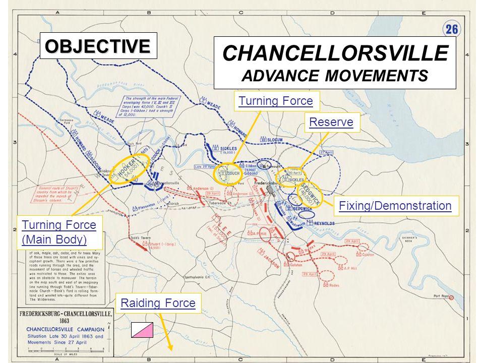13 CHANCELLORSVILLE ADVANCE MOVEMENTS Raiding Force Turning Force (Main Body) Turning Force Reserve Fixing/Demonstration OBJECTIVE
