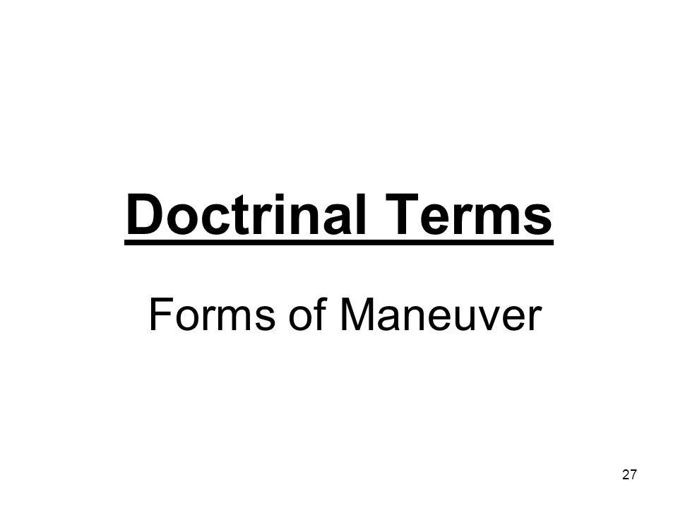 27 Doctrinal Terms Forms of Maneuver