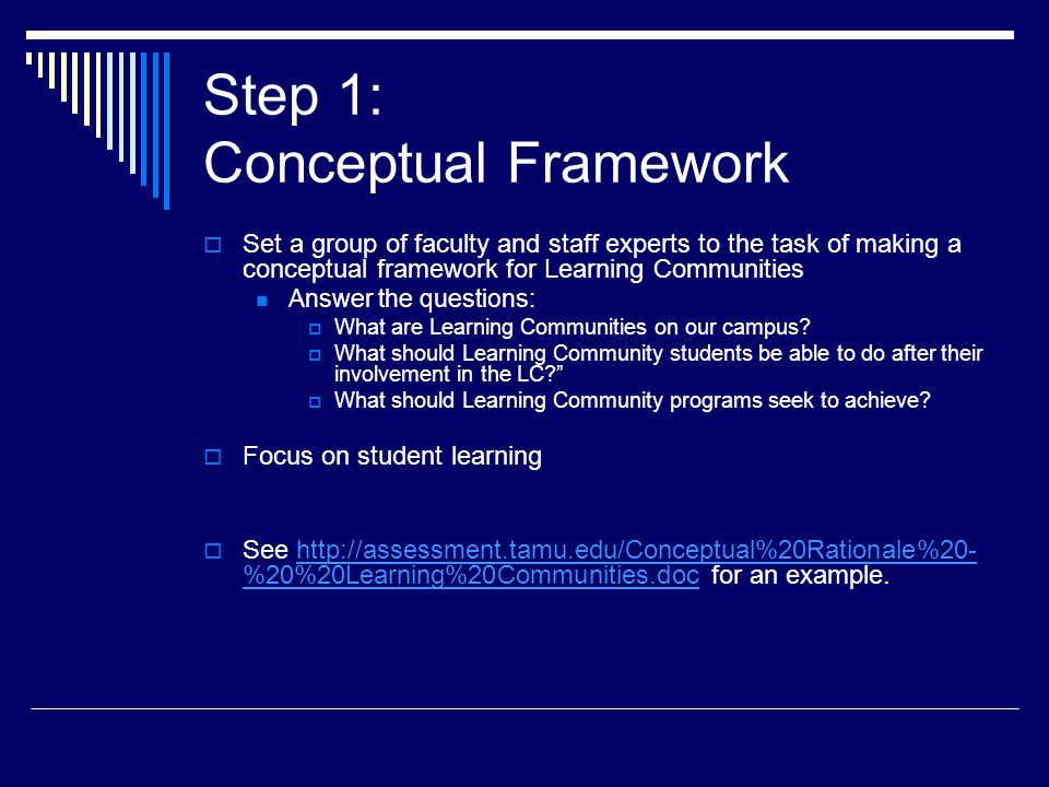 Step 1: Conceptual Framework  Set a group of faculty and staff experts to the task of making a conceptual framework for Learning Communities Answer the questions:  What are Learning Communities on our campus.