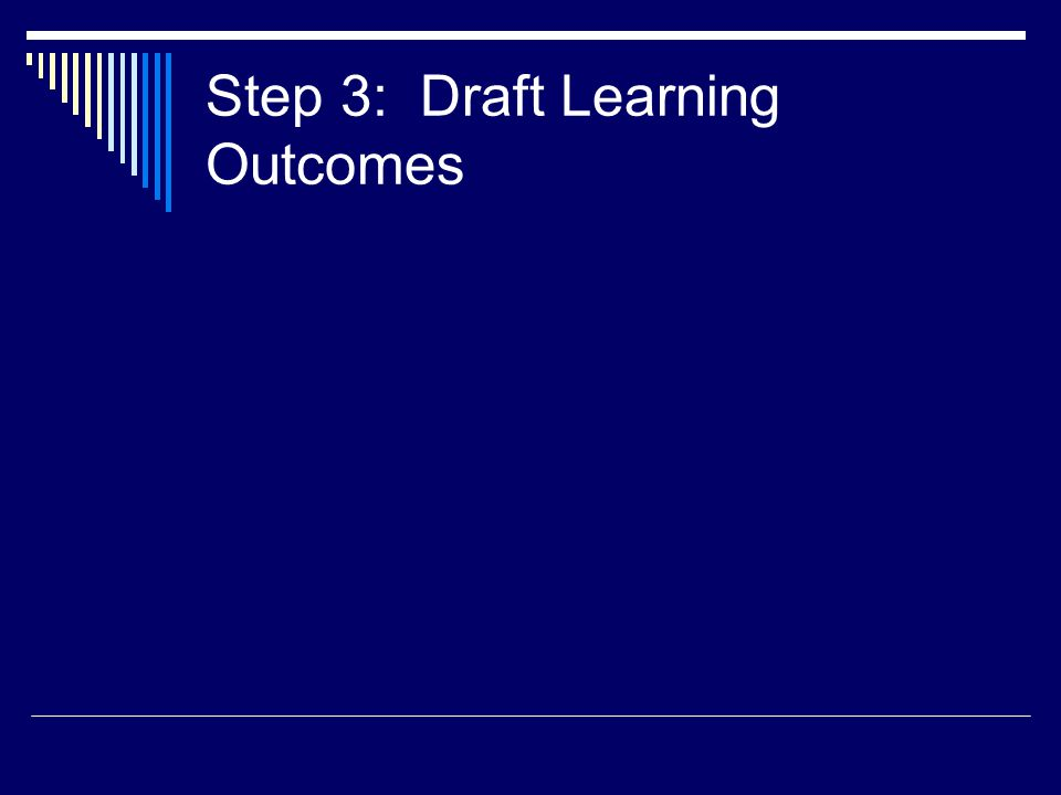Step 3: Draft Learning Outcomes