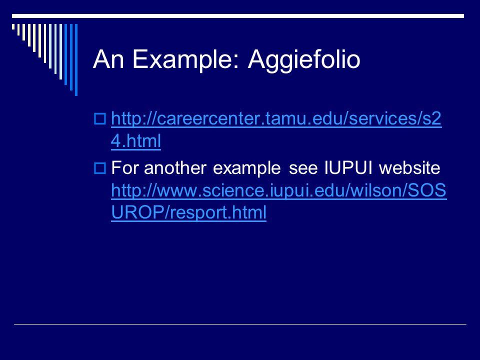 An Example: Aggiefolio  http://careercenter.tamu.edu/services/s2 4.html http://careercenter.tamu.edu/services/s2 4.html  For another example see IUPUI website http://www.science.iupui.edu/wilson/SOS UROP/resport.html http://www.science.iupui.edu/wilson/SOS UROP/resport.html
