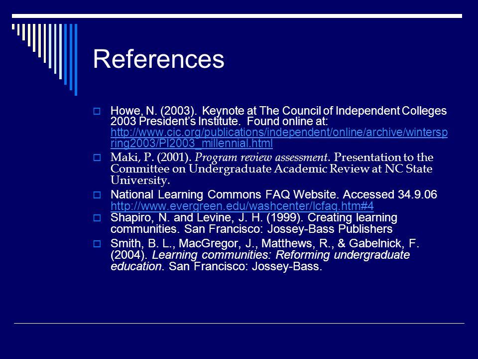 References  Howe, N. (2003).
